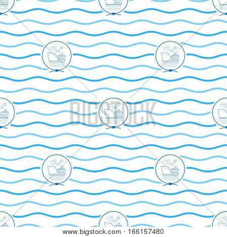 Seamless Pattern with Cargo Ship, Emblem Blue Barge in the Middle of a Rope on a Background of Blue Waves ,Seamless Pattern with Marine Element for Web Design or Wallpaper or Fabric