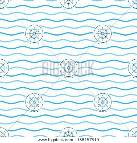 Seamless Pattern with Ship's Wheel ,Emblem Blue Ship's Wheel in the Middle of a Rope on a Background of Blue Waves, Seamless Pattern with Marine Element for Web Design or Wallpaper or Fabric
