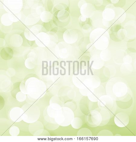 Light Green Soft Bright Abstract Bokeh Background, Soft Glow of the Sun, Defocused Lights