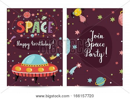 Happy birthday cartoon greeting card on cosmic theme. Flying saucer, alien, text collage on cherry with planets vector. Bright invitation on childrens costume party. Greeting card for kids. Cartoon space on happy birthday greeting cards