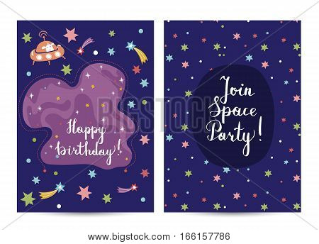Happy birthday cartoon greeting card on space theme. Star nebula, fiery comets, alien on flying saucer vector. Bright invitation on children s costume party. Greeting card for kids. Cartoon space on happy birthday greeting cards