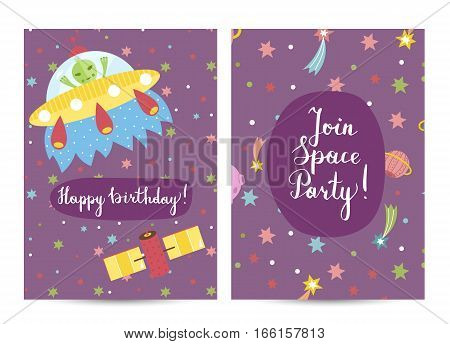 Happy birthday cartoon greeting card on space theme. Alien in flying saucer and satellite in cosmos background vector. Bright invitation on childrens costume party. Greeting card for kids. Cartoon space on happy birthday greeting cards