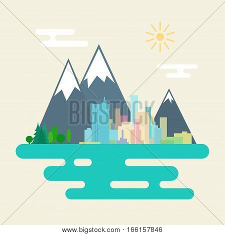 City and the Forest Against Mountains, Big City on the Sea Landscape, Flat Design