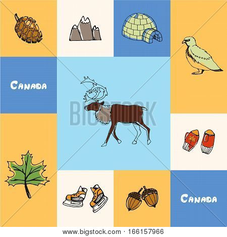 Checkered concept with canadian national and country related symbols. Reindeer, rock ptarmigan, igloo, mountains, pine cone, maple leaf, ice skates, acorns, knitted mittens hand drawn vector icons set