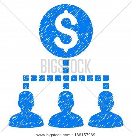 Money Recipients grainy textured icon for overlay watermark stamps. Flat symbol with dirty texture. Dotted vector blue ink rubber seal stamp with grunge design. Designed with square dots.