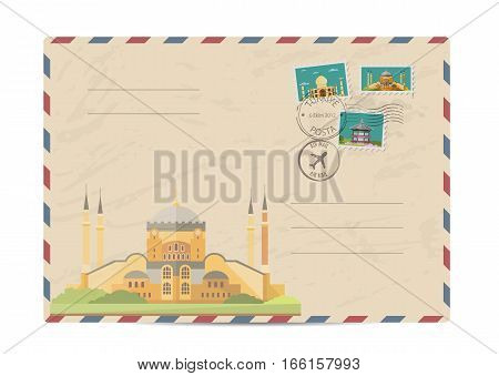 Saint Sophie Cathedral in Istanbul, Turkey. Postal envelope with architectural composition, postage stamps and postmarks on white background vector illustration. Postal services. Envelope delivery