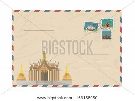 Temple of Emerald Buddha in Bangkok, Thailand. Postal envelope with architectural composition, postage stamps and postmarks on white background vector illustration. Postal services. Envelope delivery
