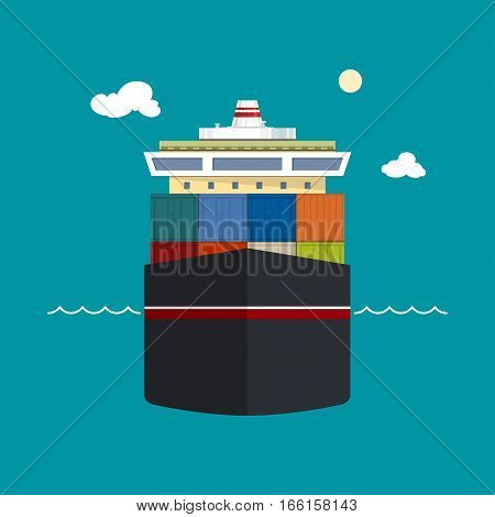 Cargo Container Ship ,Front View of a Cargo Sea Vessel, Container Truck Transports Containers