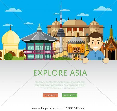 Explore Asia template with smiling tourist on background of famous traditional and modern attractions. Travel lifestyle concept with historic architectur. Asian landmarks. Discover new places