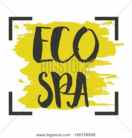 Eco SPA hand drawn label isolated vector illustration. Natural beauty, healthy lifestyle, herbal cosmetics, organic treatment, bio wellness center. Eco SPA badge, icon, logo. Eco friendly lettering