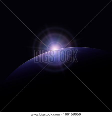 View from Space, Space Star Rises above the Planet, the Sun Rising over the Earth Rays and Glare over the Planet Earth, Space Background