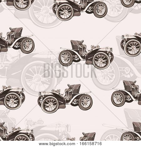Vintage Car Seamless Pattern, Old Retro Drawing Machine, Cartoon Vector Background, Monochrome. Illu