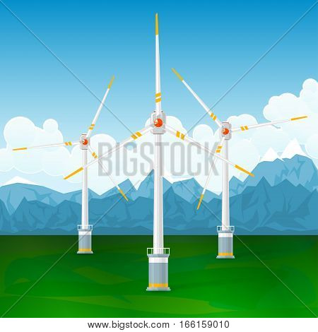Wind Turbines on a Background of Mountains, Horizontal Axis Wind Turbines on the Ground, Modern Low-Wind Turbine