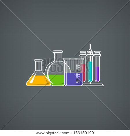 Flasks Beakers and Test-tube, Chemical Laboratory Equipment on Gray Background, Chemistry Lab