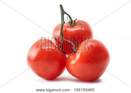 Red ripe tomatoes isolated on white background