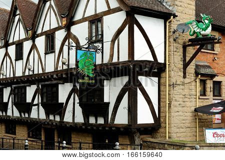 LINCOLN, UK - JULY 1, 2016: Green Dragon Hotel - now a pub on the corner of Riverside South & Broadgate. A Grade 2 Listed Building dating from the sixteenth century but heavily restored in 1959.