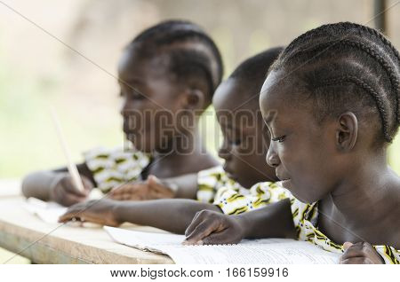 Two beautiful African girls and one African boy reading and writing at school as an educational symbol outside their school in Bamako Mali. Beautiful education symbol background.