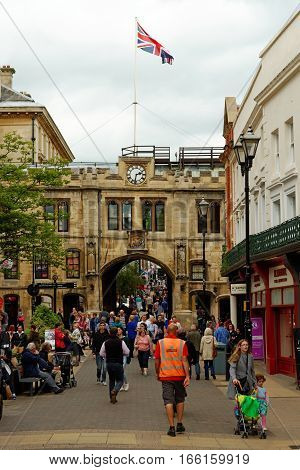 LINCOLN, ENGLAND - JULY 1, 2016: The Guildhall and Stonebow on High street - the meeting place of the Lincoln City Council from Medieval times to the present.