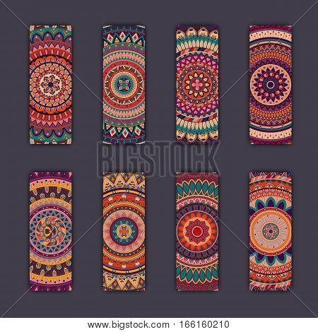 Banner Card Set With Floral Colorful Decorative Mandala Elements Background.