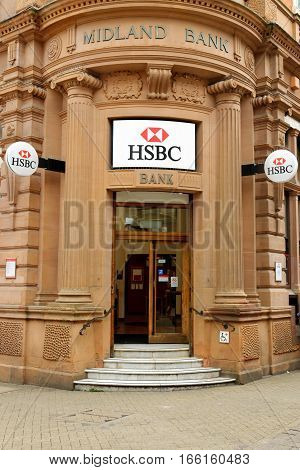 LINCOLN, UK - JULY 1, 2016: HSBC Bank branch in Lincoln. It is the world's second largest bank. It was founded in London in 1991. HSBC exists since 1865.