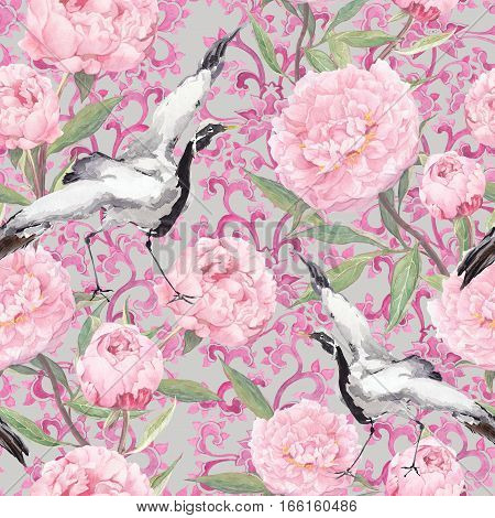 Crane birds dance in pink peony flowers. Floral seamless background with ornamental decor. Watercolor