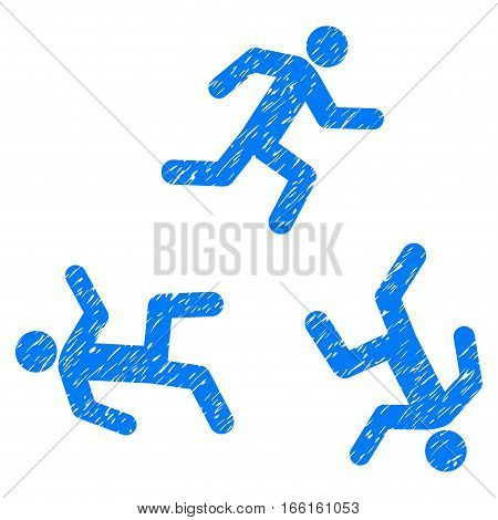Running Men grainy textured icon for overlay watermark stamps. Flat symbol with scratched texture. Dotted vector blue ink rubber seal stamp with grunge design on a white background.