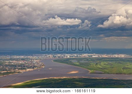 Aerial view of the city of Nizhnevartovsk and river Ob Tyumen region Russia. This is the center of the oil industry in Russia.