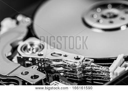 Macro Shot Of Open Hard Disc Drive