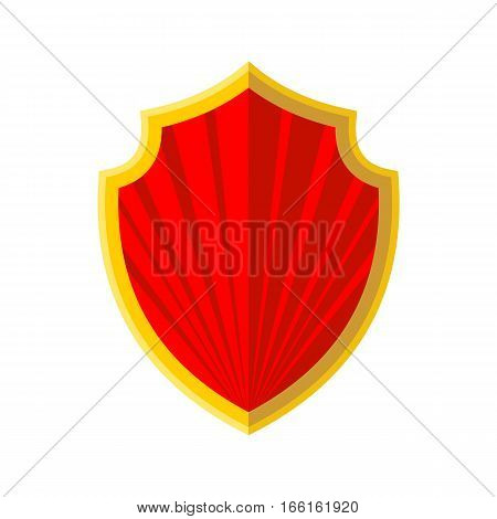 Red Shield with gold edging icon in flat style isolated on whitebackground. Vector illustration.