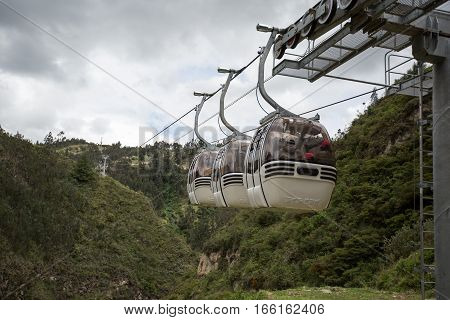 August 30 2016 Las Lajas Colombia: descending towards the sanctuary with a cablecar crossing the deep valley