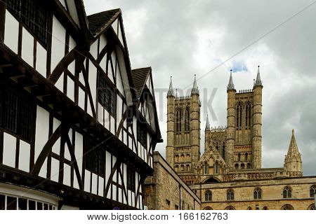 Lincoln Cathedral or the Cathedral Church of the Blessed Virgin Mary of Lincoln the seat of the Anglican bishop and the Leigh-Pemberton House in Lincoln, England.