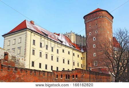 Wawel castle in the winter, Krakow, Poland