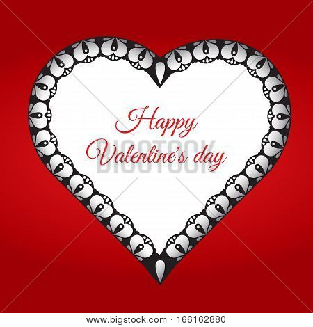 Valentine's day greeting card. Hert shaed lace frame with place for your text. Vector illustration.