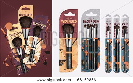 Realistic makeup brush set isolated vector illustration. Makeup brush brand template. Fashion and beauty professional artist makeup brush in package, decorative cosmetic concealer powder tool. Makeup brush packaging design. Template of makeup brush.