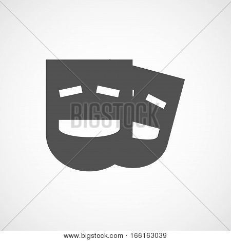 Vector flat stylize comedy mask icon. Isolated black icon for logo web site design button app UI. Comedy mask illustration for posters cards book cover flyers banner web game designs.