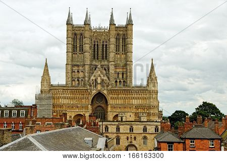 Lincoln Cathedral or the Cathedral Church of the Blessed Virgin Mary of Lincoln the seat of the Anglican bishop in Lincoln England.