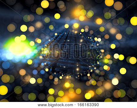 Festive fractal blur - abstract computer-generated image. Digital art: textured path to horizon with yellow bubble bokeh. Technology or holiday background