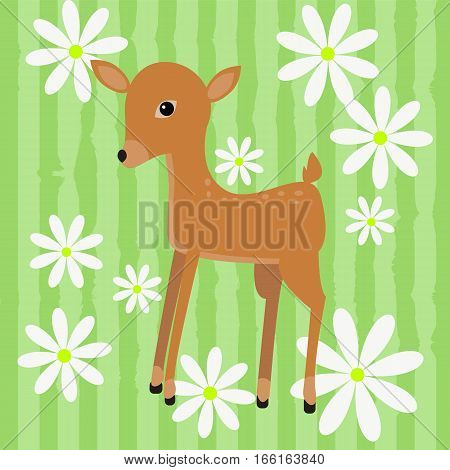 Cute Vector Card With A Fawn And Daisies On Striped Grass Background.