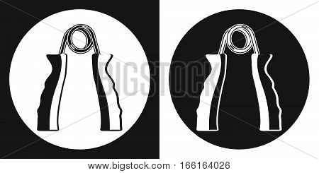 Hand grip trainer icon. Silhouette hand grip trainer on a black and white background. Sports Equipment. Vector Illustration