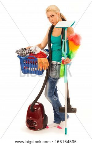 Studio shot on white background of young blond woman doing the chores