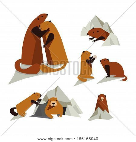 Vector set of groundhogs on white background. Isolated rodent icon for polygraphy web design logo app UI.