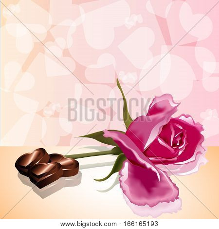 Valentines day card rose candy love hearts pink