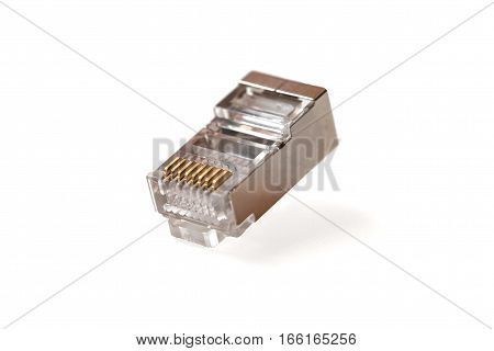 Cable head into (head rj45)networkRJ45plug. Isolated. Close-up