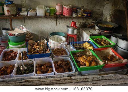 Local fastfood restaurant at Pasar Minggu traditional market photo taken in Jakarta Indonesia java