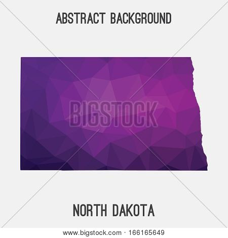 North Dakota state map in geometric polygonal style.Abstract tessellation,modern design background. Vector illustration EPS8