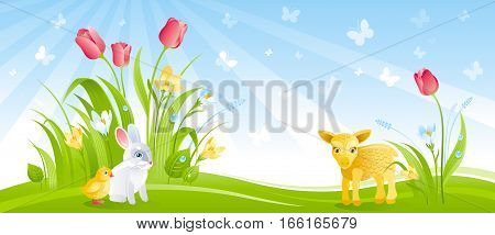 Happy Easter banner border. Spring landscape, blue sky, bunny rabbit, chicken, lamb, crocus flower, tulips, butterfly. Springtime nature. Template vector illustration background. Flat greeting card