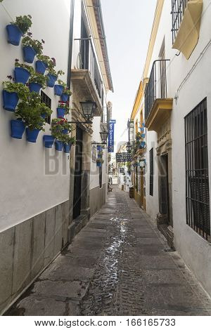 CORDOBA, SPAIN - JULY 19, 2016: Cordoba (Andalucia Spain): old typical street in the Juderia