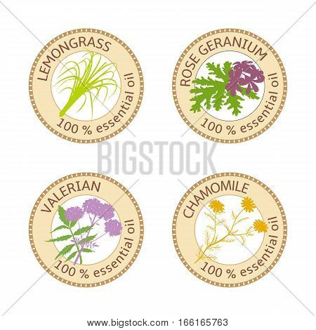 Set of 100 percent essential oils labels. Rose Geranium, lemongrass, Chamomile, Valerian symbols. Vector illustration. Brown stamps. For stickers, spa, aromatherapy, price tags, labels, banner, poster