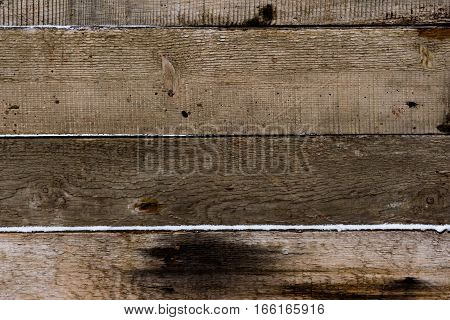 Wooden texture. Boards of powdered snow. Horizontal background. Unpainted.