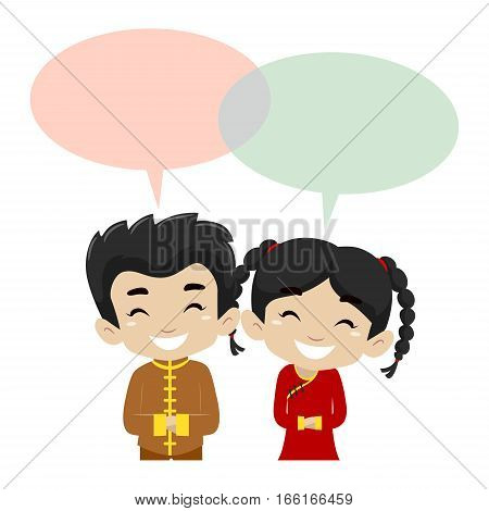 Illustration of Kids wearing Chinese Costume with Blank Speech Bubble
